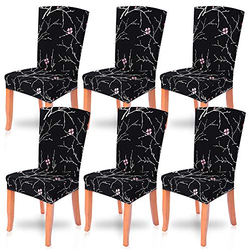 Dining Room Chair Covers Slipcovers Set of 6, SearchI Spandex Fabric Fit Stretch Removable Washable Short Parsons Kitchen Chair Covers Protector for Dining Room, Hotel,Ceremony(Black Flower,6 per set)
