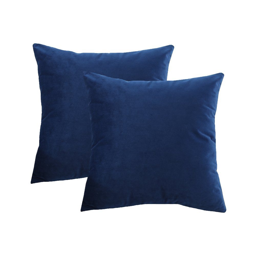 BLUETTEK Solid Velvet Throw Pillow Covers, Super Soft Luxury Home Decorative Twin Sides Pillow Cases (22 Inch x 22 Inch, Dark Blue-1 Pair)