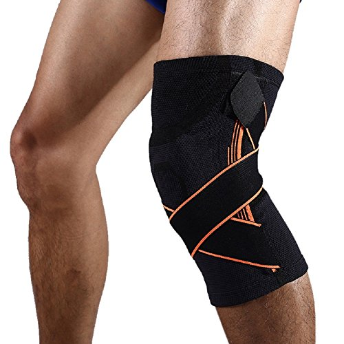 Knee Brace Fitness Compression Sleeve with Silica Gel Pad Anti Shock Kneecap With Adjustable Bandage (XL, Black)