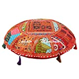 Round Seating Cotton Floor Cushion Cover Vintage Mirror Alteration Embroidered Patchwork 22'' Hassock Throw Floor Pillow Cover