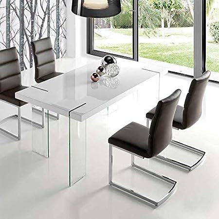 M-034 Table à Manger Design Blanc laqué et Verre Argos ...