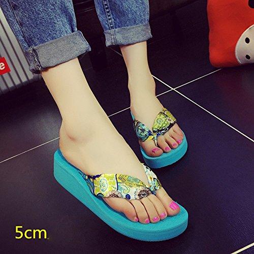 Mujeres Señoras Sandalias Los deslizadores del satén del paño de la manera de los 5cm Las sandalias femeninas del verano calzan los zapatos con 4 colores Cómodo ( Color : 1001 , Tamaño : 38 ) 1003