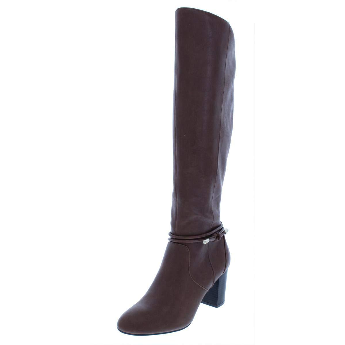 Congac Alfani Womens Giliann Wide Calf Faux Leather Dress Boots