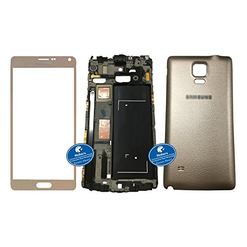 Replacement Middle Chassis (Rinbers 3 in1 Gold Front Outer Touch Screen Glass Lens Panel with LCD Middle Frame Bezel Chassis & Gold Back Cover Housing Rear Case Replacement for Samsung Galaxy Note 4 IV N910R4)