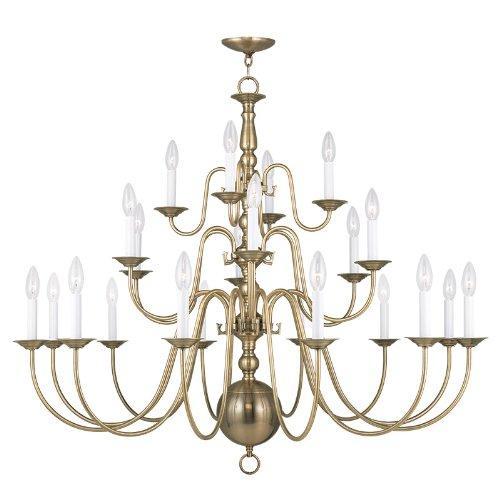 Livex Lighting 5015-01 Williamsburg 22-Light Chandelier, Antique Brass