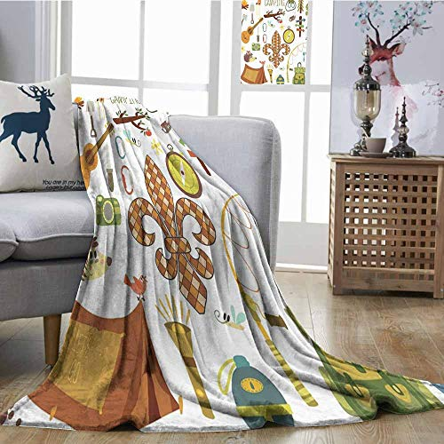 (Homrkey Living Room/Bedroom Warm Blanket Fleur de Lis Camping Equipments Boy Scout Campfire Symbol Fishing Lure Fancy Decorations Lake Elegant and Comfortable W54 xL84 Brown Mustard Green White)
