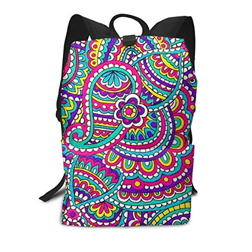 JNSHO-G Paisley Backpack for Everyday, Casual Lightweight Daypack for Travel, Bookbag, Camping - Bag Park Bottle Paisley