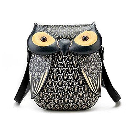 Women's Mini J Pouch Crossbody Black Owl Cute Bag Cellphone Elais Owl E5qdqx