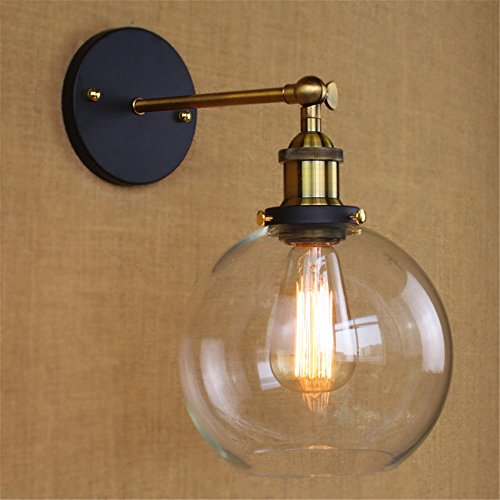 BAYCHEER HL416426 Vintage Industrial Edison Style Finish Round Glass Ball Shape Wall Lamp Vintage Lighting Fixture Lights Wall Sconce