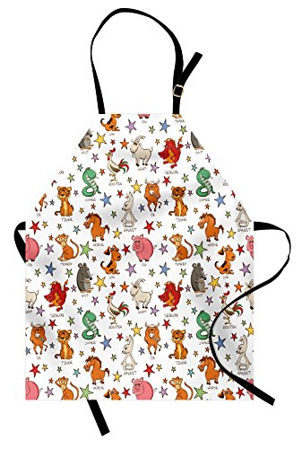 Lunarable Fantasy Apron, Twelve Funny Chinese Zodiac Animals Signs with Stars Colorful Astrology Themed, Unisex Kitchen Bib Apron with Adjustable Neck for Cooking Baking Gardening, Multicolor Chinese Zodiac Animal Signs
