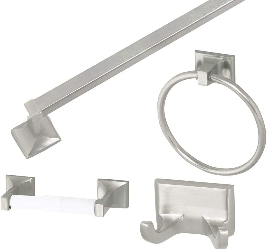 Design House 534644 Millbridge 4-Piece Bathroom Accessory Kit, Bath, Satin Nickel