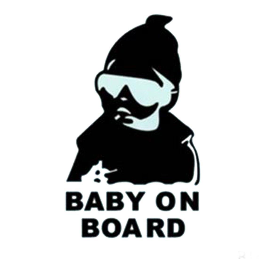Fashion Lovely Baby on Board Warnung Aufkleber Reflektierende Wasserdicht Auto Fenster vinyl Aufkleber Farbe schwarz weiß Weiß [Energieklasse A] rongwen