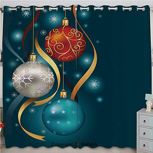 (Justin Harve window Vivid Classical Baubles with Ribbons and Different Patterns Abstract Decorative Custom Blackout Curtains Set of 2 Panels(100
