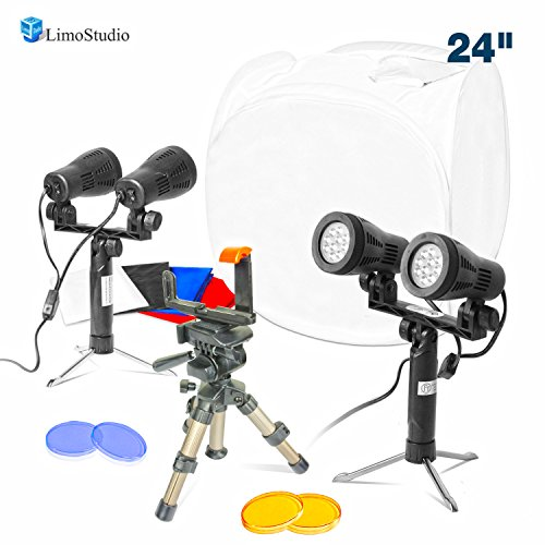 "LimoStudio Table Top Photo Shooting Kit with 24"" Softbox Shooting Cube Tent, Double Head LED Light & Color Gel Filters, Adjustable Portable Tripod, and Cellphone Holder Adapter, AGG2728 by LimoStudio"
