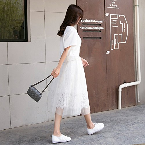 Larga Neto Encaje Primavera Ins blanco 80cm 2018 Super Plisada De Elegante Stts Falda Fuego Hilo qTIRtt