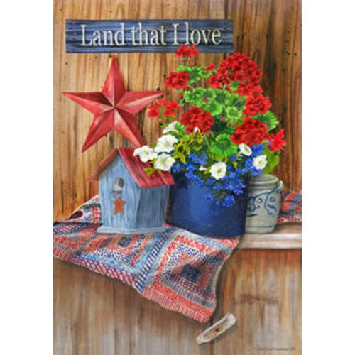 """"""" Land That I Love """" – Americana Patriotic Barn Star – Standard Size 28 Inch X 40 Inch Decorative Flag Review"""
