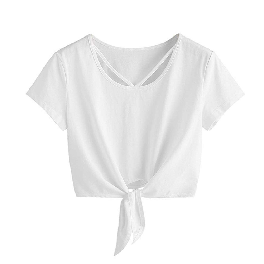 Women Summer Casual Crop T Shirt Front Bowknot Solid Short Sleeve Crop Tops T-Shirt by Lowprofile White