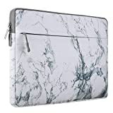 Mosiso Canvas Fabric Laptop Sleeve Case Bag Cover for 13-13.3 Inch MacBook Pro, MacBook Air, Notebook Computer, White Marble Pattern