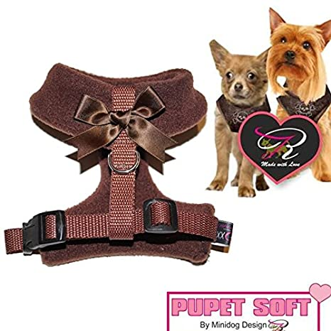 Tamaño XXS en color marrón con lazo Chihuahua arnés del perro para ...