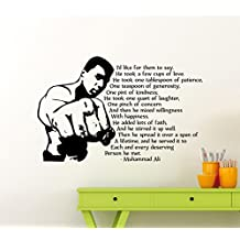 Muhammad Ali Quote Wall Vinyl Decal Champions Gym Motivational Fitness Vinyl Sticker Cassius Clay Inspirational Home Sport Gym Art Decor Lettering Boxer Boxing Quotes Mural Vinyl Sticker (162ex)