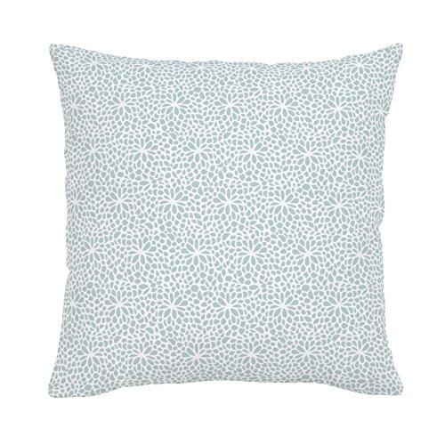 Carousel Designs Seafoam Modern Mums Throw Pillow 18-Inch Square Size - Organic 100% Cotton Throw Pillow Cover + Insert - Made in the USA