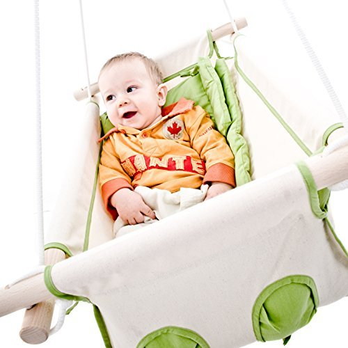 Beto Baby Swing, Baby Hammock, Cradle Swing with Spring and Spreader Bar (green beige)