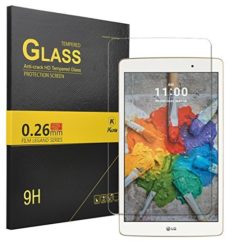 LG G PAD X 8.0 Screen protector, KuGi ® LG G PAD X 8.0 -High Quality 9H Hardness HD clear Tempered Glass Screen Protector for LG G PAD X 8.0 tablet. (1pcs)