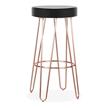 Surprising Cult Living Hairpin Metal Bar Stool Black Faux Leather Seat Alphanode Cool Chair Designs And Ideas Alphanodeonline