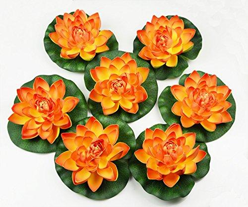 7Pcs Artificial Floating Foam Lotus Flower Pond Decor Water Lily (Orange)