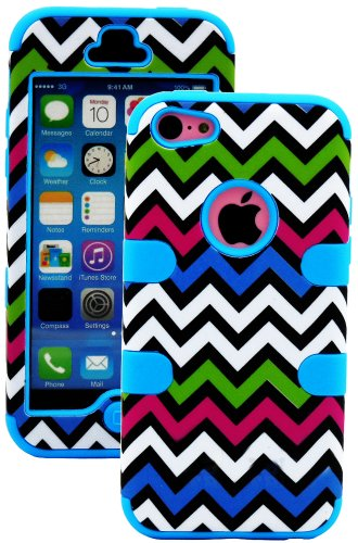 myLife Electric Blue + Colorful Chevron 3 Layer (Hybrid Flex Gel) Grip Case for New Apple iPhone 5C Touch Phone (External 2 Piece Full Body Defender Armor Rubberized Shell + Internal Gel Fit Silicone Flex Protector)