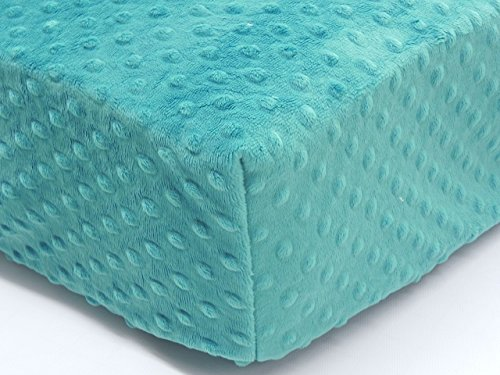 (Crib Sheet - Minky Dot Teal )