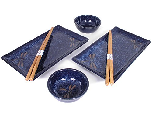 - Happy Sales HSBH79/N, 6 pc Japanese Sushi Plate set Dragonfly Blue