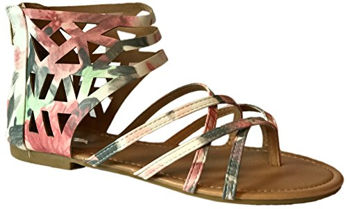 New Womens Sandals Roman Gladiator Flats T Straps Thongs Ladies Shoes Medusa & Eva (8.5, FloralGld915)