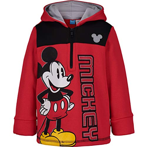 Disney Mickey Mouse Toddler Boys' Half-Zip Pullover Fleece Hoodie, Red (2T)
