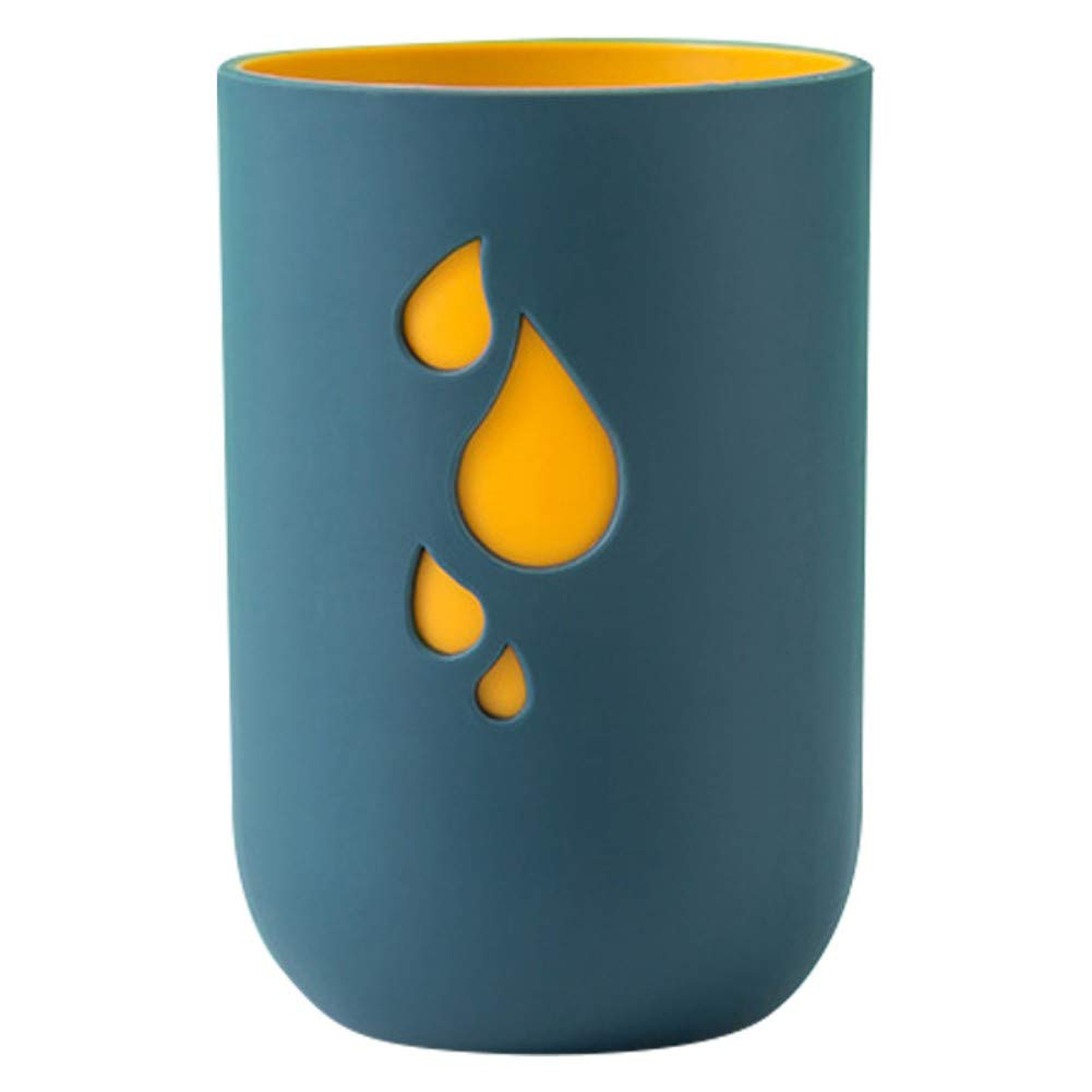 Iswell Taza de Cepillo de Dientes Silicona de Doble Capa Gota de Lluvia Taza de Enjuague bucal de Dos Colores Pareja Ambiental Soporte de Cepillo de Dientes Taza de Lavado dom/éstico 300 ml