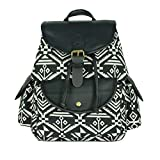 YOUR GALLERY Women's Faux Leather and Canvas Tribal Stripe Print Canvas Backpack