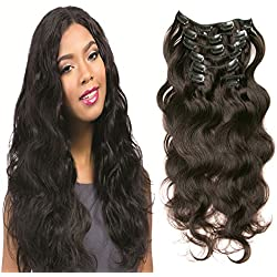 """Hair Extensions, XuanMei - 7pcs Full Head clip in 100% Virgin Brazilian Human Hair Body Wave Weave With Double Strong Weft 16"""" #1b Natural Color 70 gram Include 16 Clips, Soft and Easy to Wear"""