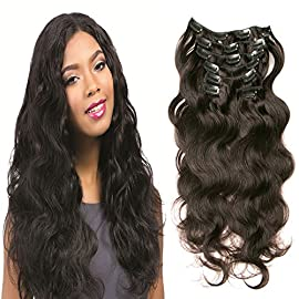 Clip In Hair Extensions 7pcs clip in 100% Virgin Brazilian Human Hair Body Wave Weave With Double Strong Weft #1b Natural Color 70 gram Include 16 Clips, Soft and Easy to Wear