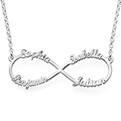 02a0bb578268a Personalised Infinity Pendant Engraved with 4 Names in Sterling Silver  Necklace - Mothers Jewellery