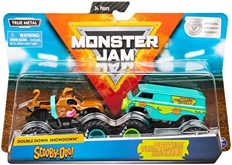 Amazon Com Monster Jam Official Scooby Doo Vs Mysterty Machine Die Cast Monster Trucks 1 64 Scale 2 Pack Toys Games