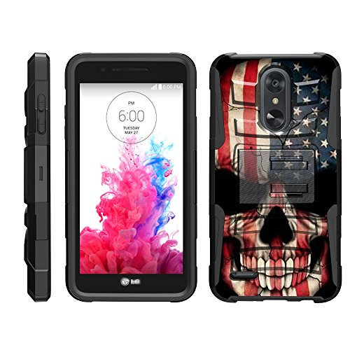 TurtleArmor | Compatible for LG Aristo 3 Case | Risio 3 | Rebel 4 | Tribute Empire [Hyper Shock] Hybrid Dual Layer Armor Holster Belt Clip Case Kickstand - US Flag Skull (3g Phone Iphone Cases)