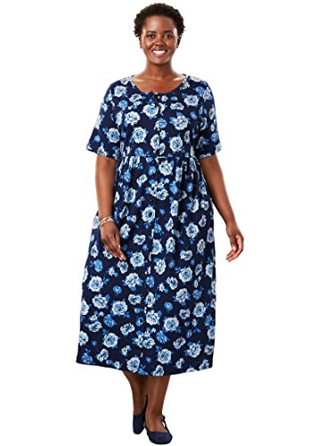 Only Necessities Women's Plus Size Empire Knit Dress Navy Rose,M