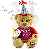 Houwsbaby Happy Birthday Teddy Bear Musical Animated Stuffed Animal Singing Interactive Plush Electronic Toy with Cupcake and Candle Gift for Kids, Brown, 11 inches