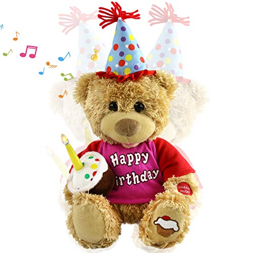 Houwsbaby Happy Birthday Teddy Bear Musical Animated Stuffed Animal Singing Interactive Plush Electronic Toy with Cupcake and Candle Gift for Kids, Brown, 11 inches -