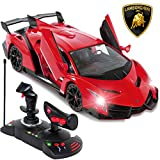 Best Choice Products 1/14 Scale Kids Remote Control Luxury Car Lamborghini Veneno RC Toy w/ Gravity Sensor, Engine Sounds, Head and Rear Lights, Opening Door - Red