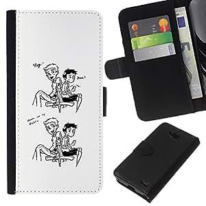 LECELL--Cuero de la tarjeta la carpeta del tirón Smartphone Slots Protección Holder For LG OPTIMUS L90 -- Hola amigo --