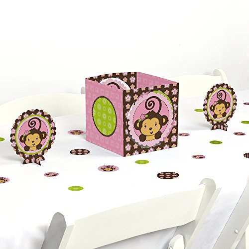 Big Dot of Happiness Pink Monkey Girl - Baby Shower or Birthday Party Centerpiece & Table Decoration Kit by Big Dot of Happiness
