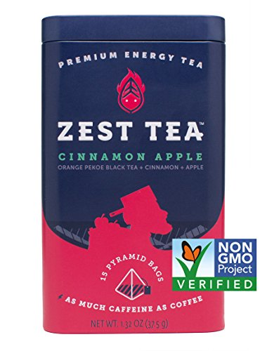 Zest Tea Premium Energy Hot Tea, High Caffeine Blend Natural & Healthy Traditional Coffee Substitute, Perfect for Keto, 150 mg Caffeine per Serving, Apple Cinnamon Black Tea, Tin of 30 Sachet Bags