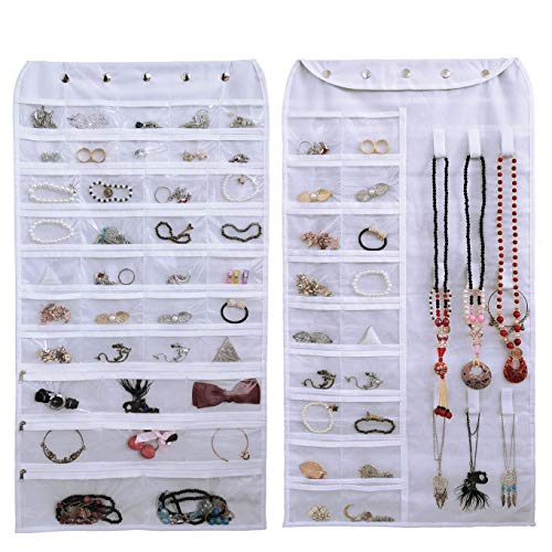 Btromeshy Hanging Jewelry Organizer,Double Sided 56 Pockets and 9 Hook Loops for Holding Jewelry (White)