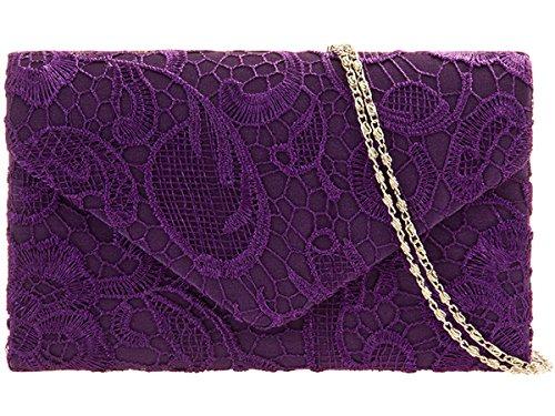 Arisha Lace Pattern Flower Shoulder Envelope Designer Ladies Satin Navy Bag Bag Clutch Girls Bag UKFS Evening Purple Wedding XYRBqI